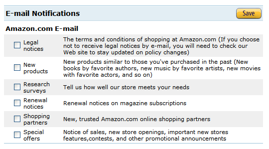 Amazon email preferences