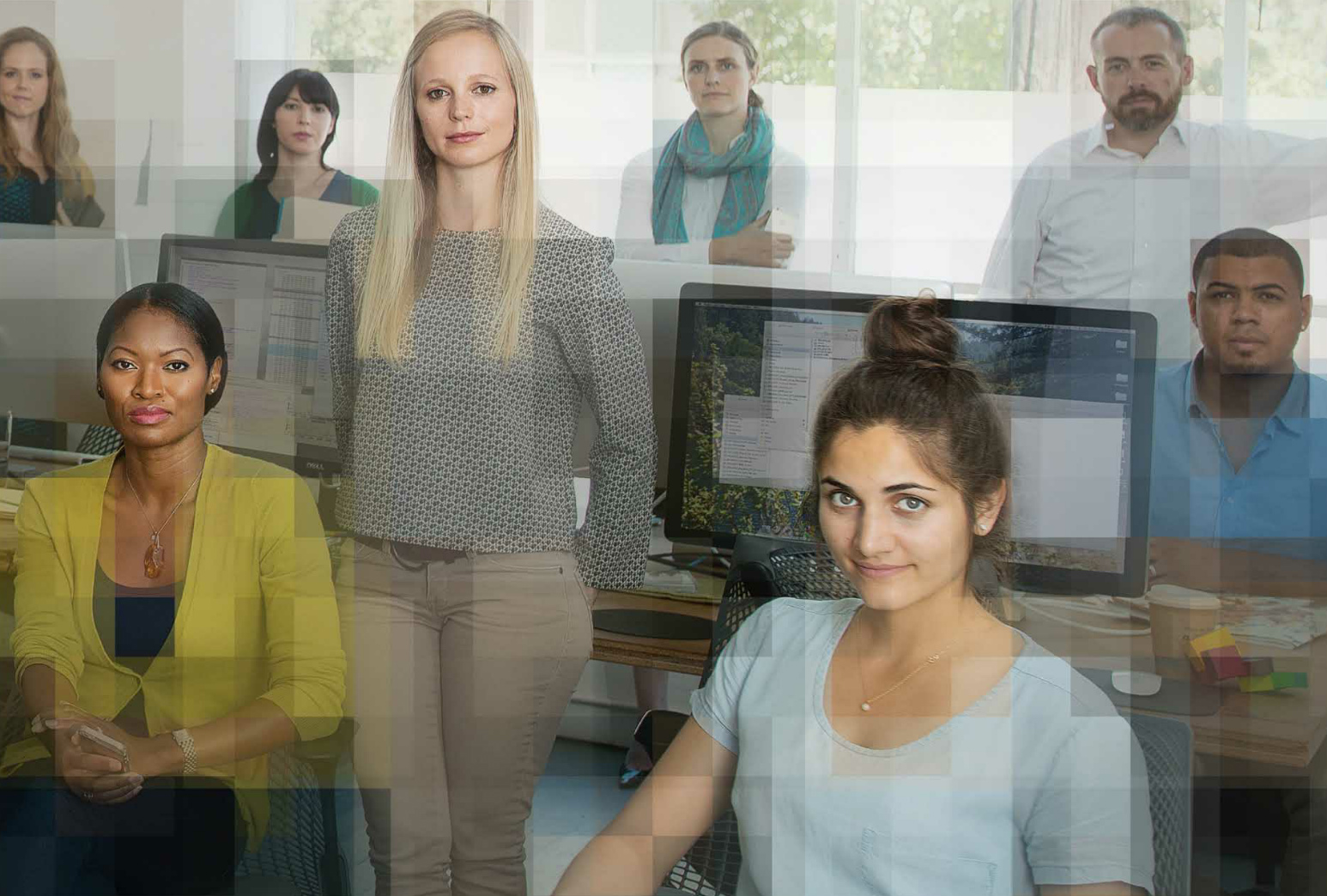 Photomosaic of people in an office