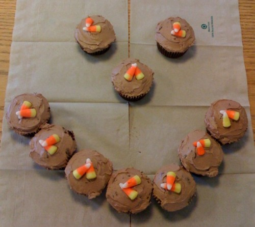 Chocolate candycorn cupcakes