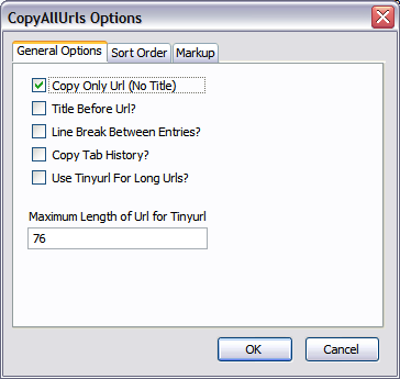 Copy All Urls options