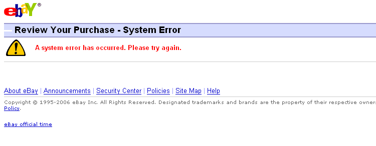 eBay error message