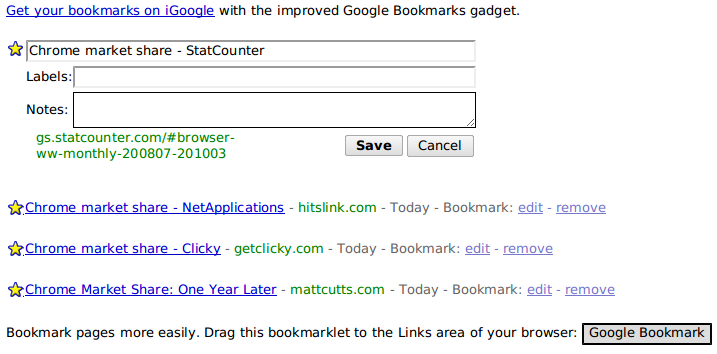 Google Bookmarks UI
