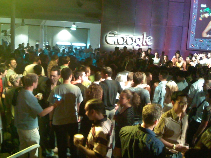 People dancing in Google cafeteria