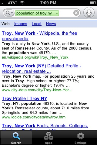 Google Mobile App: [population of troy new york]