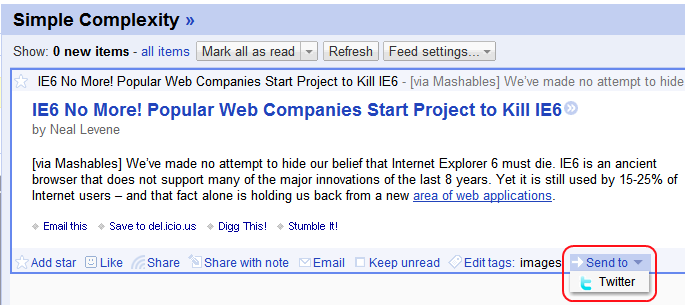 Google Reader 'Send To' feature