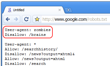 Google Halloween 2008 robots.txt