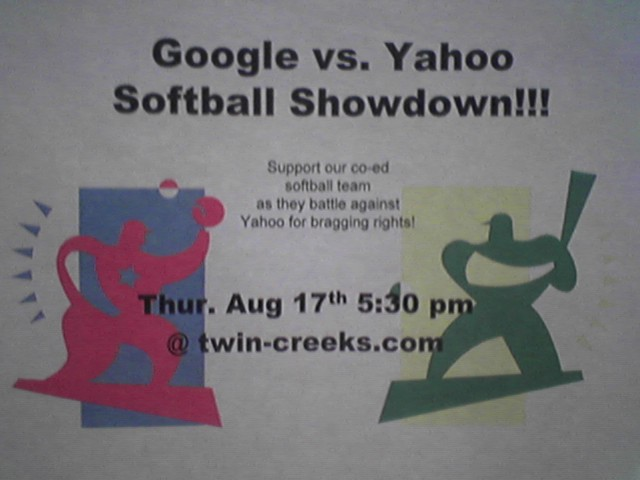 Google Softball flyer