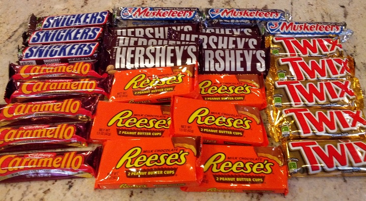 A lot of full-size Halloween candy.