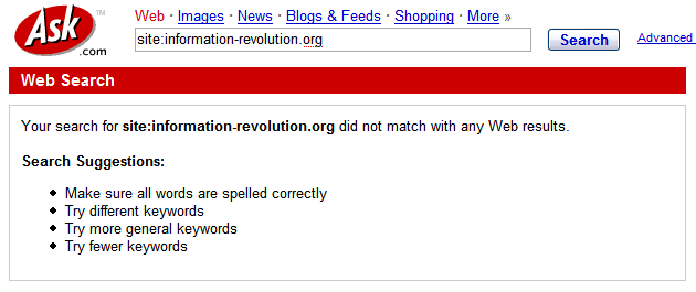 Ask has no pages from the information-revolution.org site compared to Google