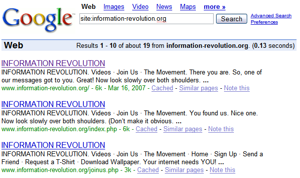 Google has many pages from the Ask information-revolution.org site