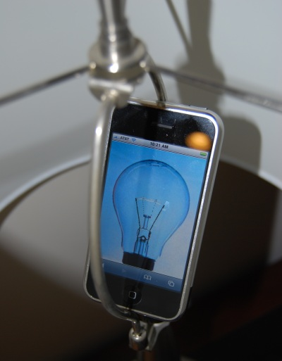 iPhone in light socket