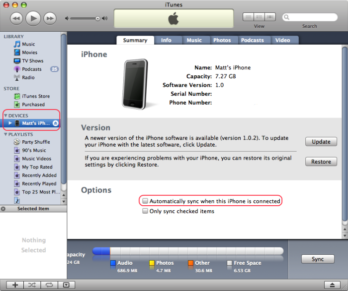 Disable the synchronization in iTunes