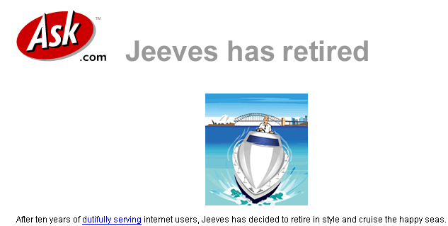 Jeeves happily sailing around the world