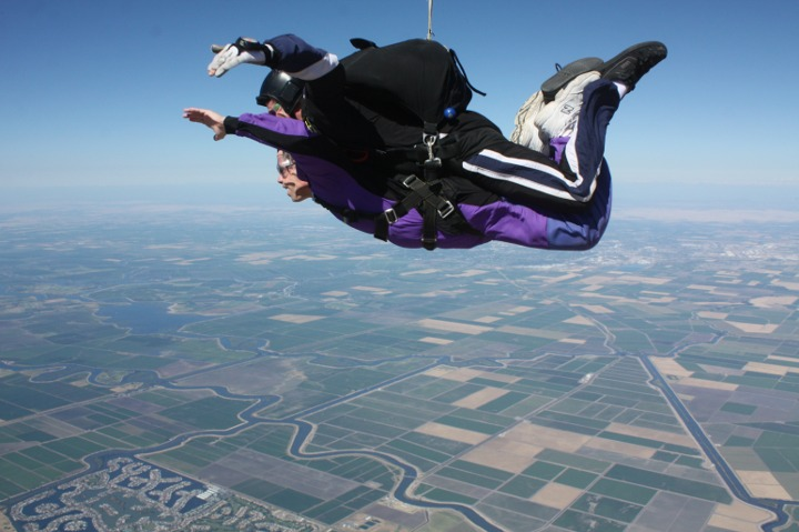 Matt skydiving at 8000 feet or so