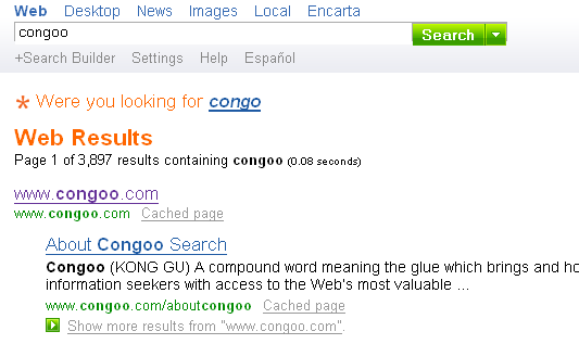 MSN has Congoo in the index