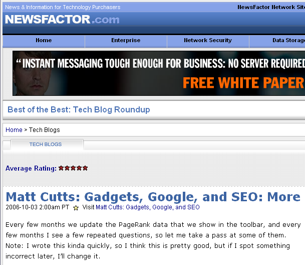 Newsfactor's copy of my blog post