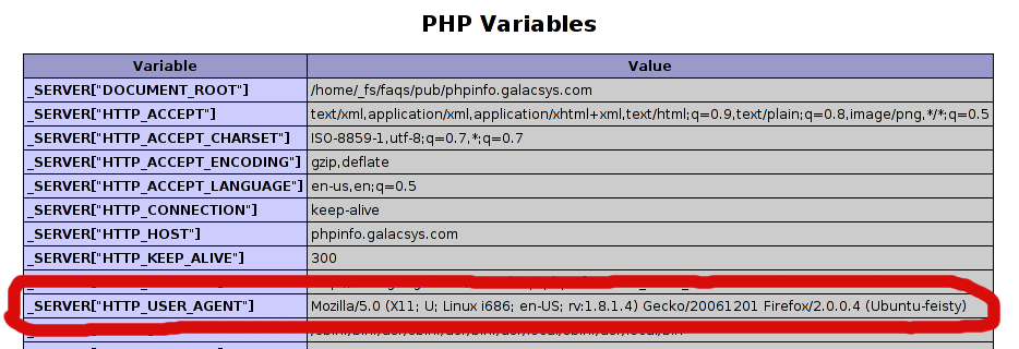 phpinfo user agent