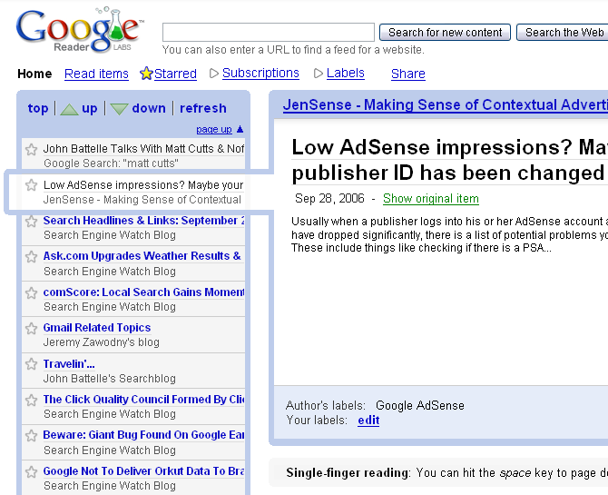 Previous version of Google Reader