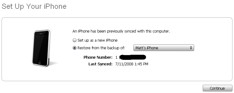 iTunes offers to restore iPhone