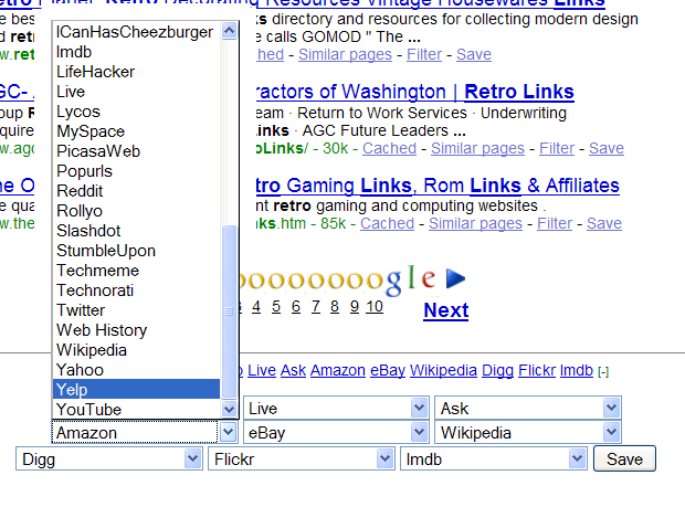 Changing search engines in Retro Links