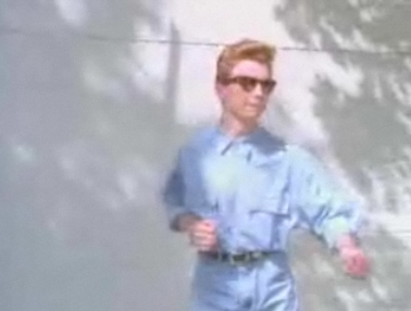 Rick Astley in blue jeans