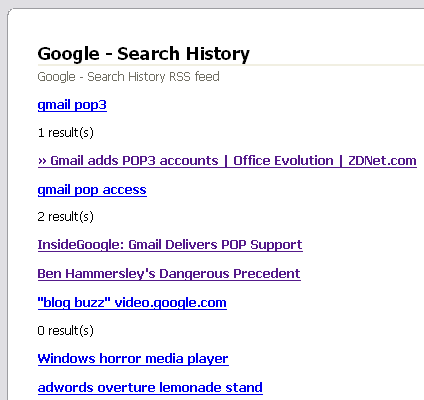 Search history feed