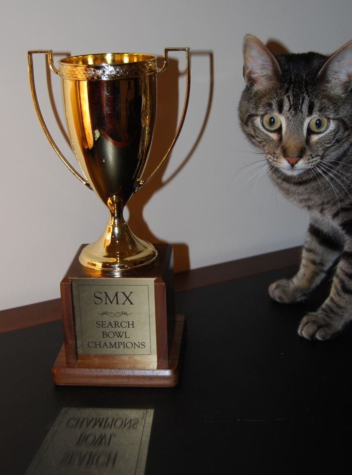 SMX Search Bowl Trophy, with my cat Ozzie