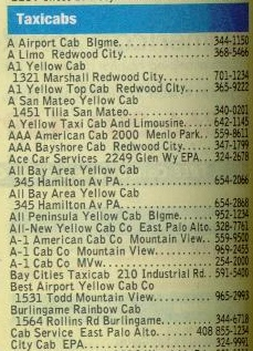 Example snippet of a directory of taxi cabs