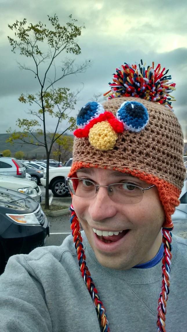 Me wearing a Thanksgiving turkey hat!