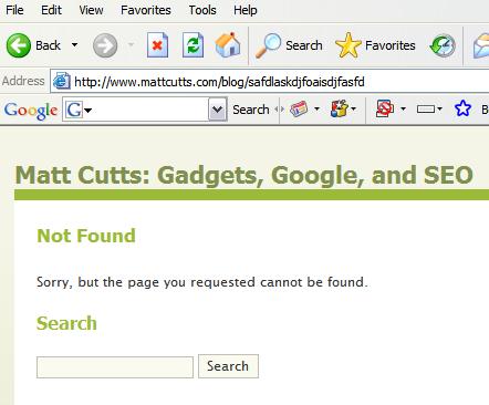 google toolbar et pages 404 du site web