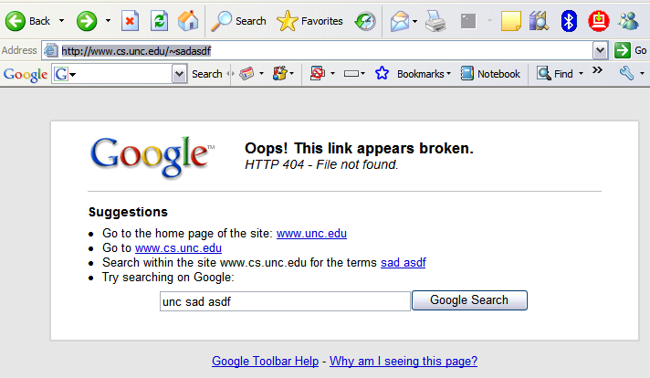The toolbar version of the 404 page