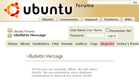 Ubuntu forums error