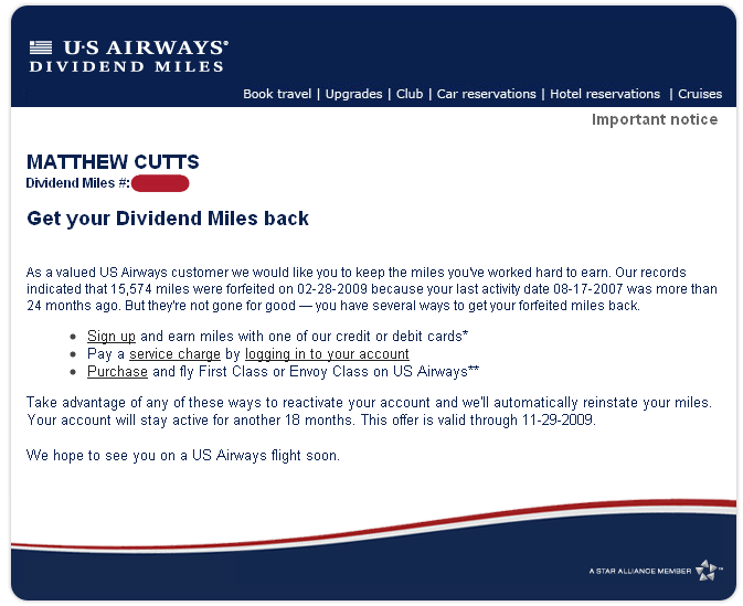 Sign up for a US Airways credit card!