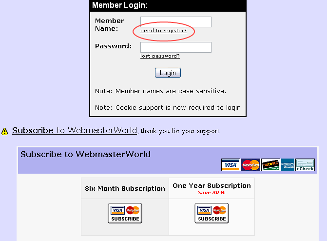 Registration screen for WMW