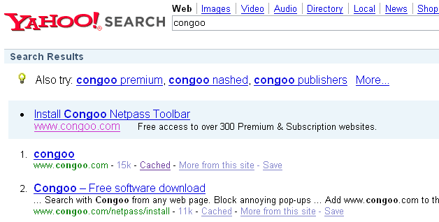 Yahoo has Congoo in the index