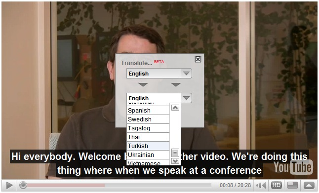 Show and Translate YouTube CaptionsSelect Turkish